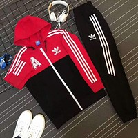 Adidas Casual Print Hoodie Top Coat Sweater Pants Trousers Set Two-piece Sportswear Red I-PSXY