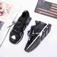 2020 new Dolce&Gabbana DG womens  Fashion Print Low-Top Sneakers BLACK SHOES TOP Quality