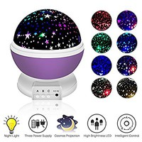 Night Lighting Lamp,Baby Night Light,Moon Star Projector 360 Degree Rotation Romantic Cosmos Star Sky Moon Bedroom Light 4 LED Bulbs 9 Light Color Changing Gifts for Men Women Kids Best Baby