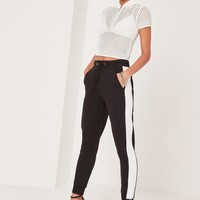 Missguided - Striped Elastic Side Joggers Black