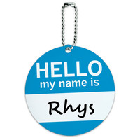 Rhys Hello My Name Is Round ID Card Luggage Tag