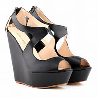 Summer Fashion Matte PU Hollow Exposed Toe Platform Sandals Ladies Slope With Heels Shoes