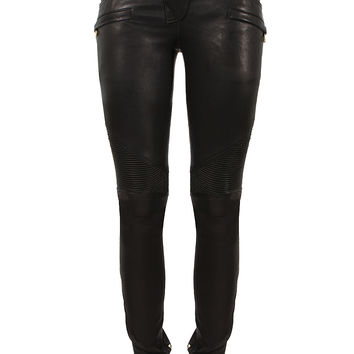 BALMAIN BLACK LEATHER BIKER PANTS