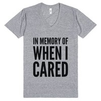 In Memory Of When I Cared V-neck T-shirt (idc812335)-T-Shirt