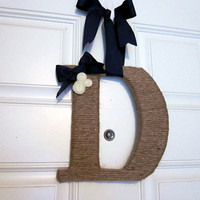 Jute Twine Monogram with rolled felt flowers, Twine Initial, Wrapped Letter Door Hanger, Wedding Decor, Made to order