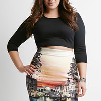 Gondola Graphic Pencil Skirt