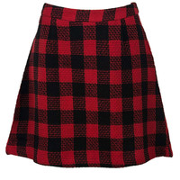 Red Contrast Check Print A-line Woolen Skirt