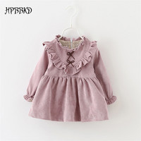 2016 Autumn Baby Girls Dress Newborn Cotton Cute Long Sleeve Dress Baby Children Girls Princess  Dresses Spring Clothes GD-484