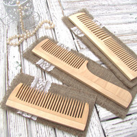 Set of 3 Wooden Hair Combs. Natural Hair Accessory. Сombs in the fabric cover.