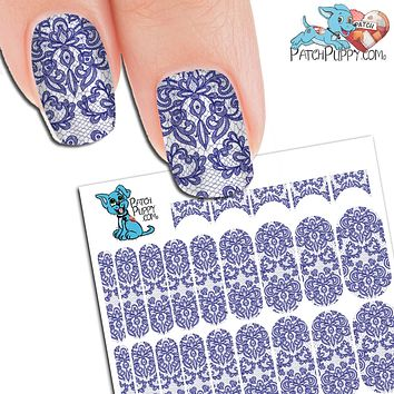 Lace Blue Nail wraps