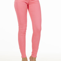 Pink Ankle Zipper Skinny Jeans
