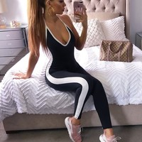 Sasha Black and White Bandage Jumpsuit