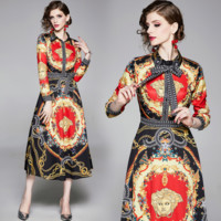 Versace Fashion Women Casual Print Long Sleeve Lapel Dress