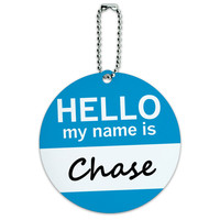 Chase Hello My Name Is Round ID Card Luggage Tag