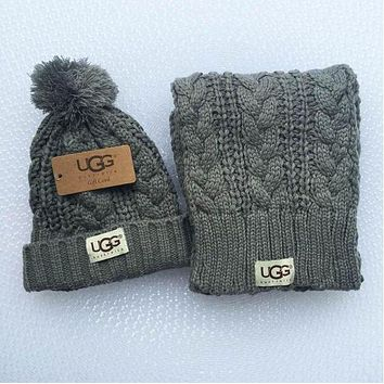 UGG Winter men and women knit hats & scarves two sets F