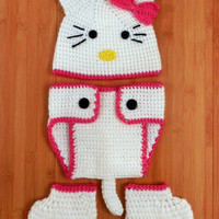 Crochet Hello Kitty Hat, Diaper Cover and Booties