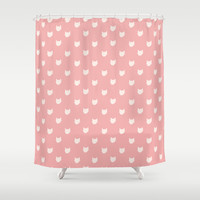 Dainty pink Cats Pattern Shower Curtain by Allyson Johnson