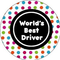World's Best Driver,Car Coaster Set of 2,Ceramic,2.6x2.6x0.25 Inches