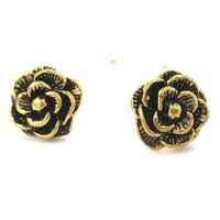 Large Floral Rose Textured Stud Earrings in Bronze | DOTOLY