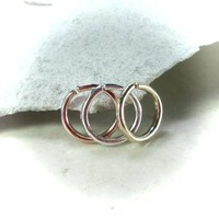 Nose Ring Set of 3 Face Hammered Endless Gold/Silver/Pink Gold