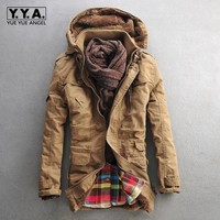 Top Winter Mens Fashion Fur Hooded Winter thick cotton-padded jacket lambs wool overcoat Velvet Warm Coats For Male Size M-5xl
