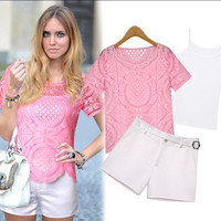 Pink and White Floral Lace Top and Shorts