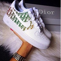 Nike Air Force 1 x Dior Sneakers Print Contrast Shoes Women Men Trending Shoes White+Black