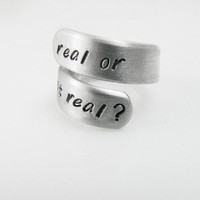 Real or not real? Wrap Twist Ring - Best Friends Ring - Adjustable Aluminum Ring, Spiral Ring