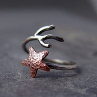 Copper Starfish Coral Branch Adjustable Ring Star by HapaGirls