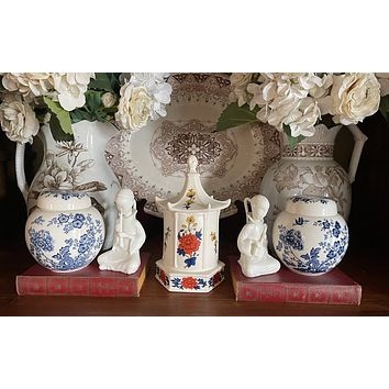 Pair of Blue & White Chinoiserie Prunus Bloom English Ginger Jar Vases Vintage Transferware