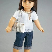 """Silver Shimmer Outfit with Tights and Sparkly Top - Fits 18"""" American Girl Fashion Doll Clothes"""
