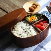 Japanese  Wooden Bento Lunch Boxes tableware bowl Food Containers