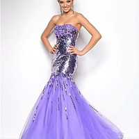 Orchid Sequin & Tulle Strapless Mermaid Prom Gown - Unique Vintage - Cocktail, Pinup, Holiday & Prom Dresses.