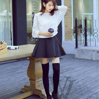 Womens Lady Girls Fashion Opaque Knit Over Knee Thigh High Stockings Socks