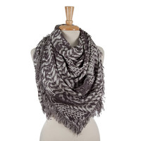 Charcoal Gray or Navy Blue and White Patterned Blanket scarf with Frayed Edges
