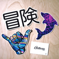 Adventure Sticker Pack // BONUS CALIFORNIA STICKER // Limited Time Offer // Hawaiian Shaka // Japanese Adventure // Geometric Dolphin