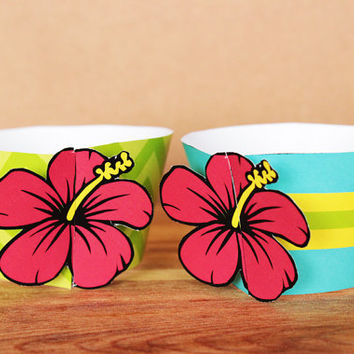 Printable 3D Hibiscus Flower Cupcake Wrapper and Topper Set in blue , green , yellow , and wine red INSTANT DOWNLOAD