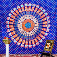 Hippie Indian Tapestry, Bedspread, Peacock Feather Pattern Indian Tapestry,Indian Peacock Mandala Tapestry,  Beach Sheet, Hanging Wall Art