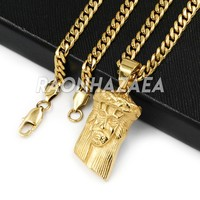 Hip Hop Iced Stainless Steel Gold / Silver Jesus Face Pendant W Cuban Chain