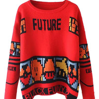 Red Letter Pattern Long Sleeve Knit Sweater