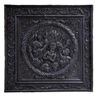 """""""The damned in Hell"""", Antique fireback in cast iron , dated from 1687"""