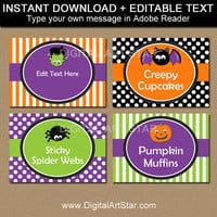 Kids Halloween Labels, Kids Halloween Candy Buffet Labels, Hallowen Buffet Labels, Halloween Buffet Cards, PRINTABLE Halloween Food Tags HF