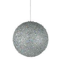 """Fancy Silver Holographic Glitter Drenched Christmas Ball Ornament 4.75"""" (120mm)"""