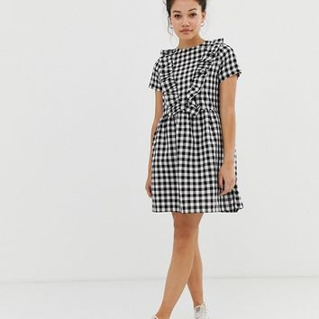 Daisy Street smock dress with ruffles in gingham | ASOS