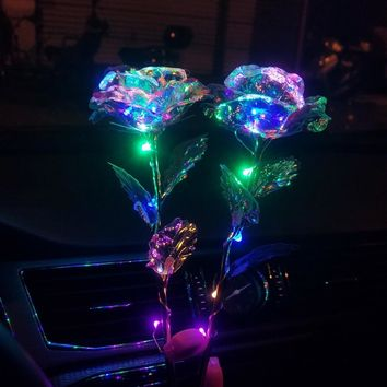 Romantic Colorful LED Fairy Rose Artificial Flowers for Girl Friend Valentine's Day Gift Wedding Party Home Decoration
