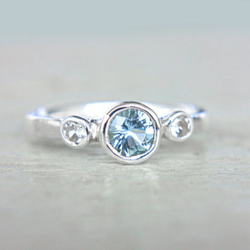 Aquamarine and White Sapphire Ring Triple Stone Ring Sterling Silver Promise Ring Aquamarine Engagement Ring Birthstone Size 7,5