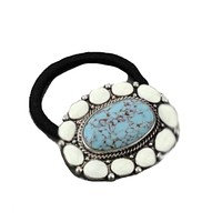 Turquoise Stone and Brass Concho Hair Band