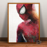 Spiderman Print, Superhero Poster, Spiderman wall art, Geometric heroes art, Comic Wall Art, Cartoon, spiderman poster, 5x7, 8x10, 16x20