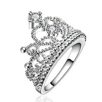 Fashion Beautiful Jewelry New Silver Crystal Princess Crown Fine Ring