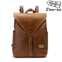 Three-box Criss-cross Solid Pu Backpacks Backpack